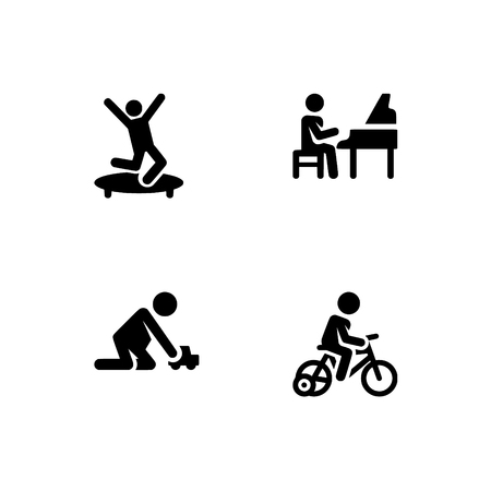Childhood, kids play and study, children. Set outline icon EPS 10 vector format. Professional pixel perfect black & white icons optimized for both large and small resolutions. Transparent background.