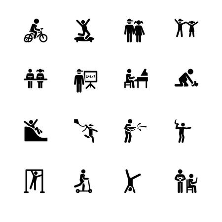 Infancia, los niños juegan y estudian, los niños. Establecer formato de vector Eps 10 icono de contorno. Iconos profesionales en blanco y negro con píxeles perfectos optimizados para resoluciones grandes y pequeñas. Fondo transparente.