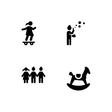Kindheit, Kinder, Kinder. Stellen Sie das Umriss-Symbol EPS 10-Vektorformat ein. Professionelle pixelgenaue Schwarz-Weiß-Symbole, optimiert für große und kleine Auflösungen. Transparenter Hintergrund.