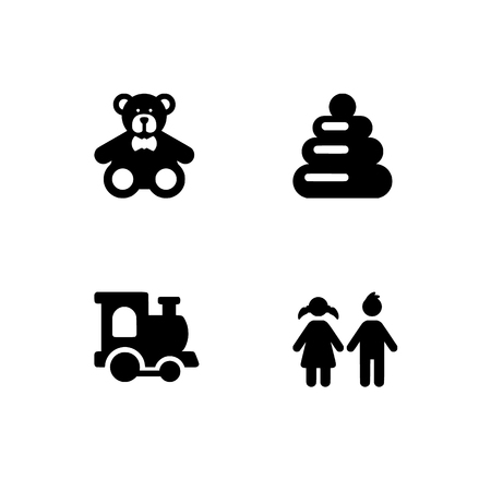 Childhood, kids, children. Set outline icon EPS 10 vector format. Professional pixel perfect black & white icons optimized for both large and small resolutions. Transparent background.