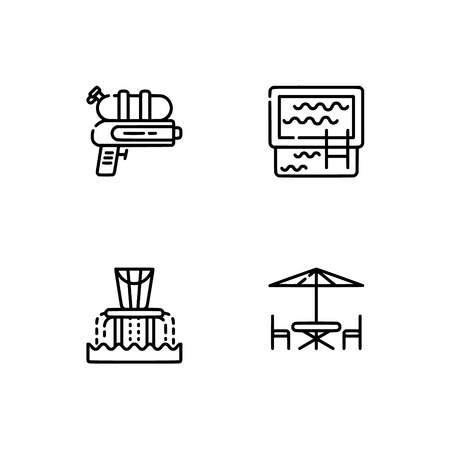 Waterpark and aquapark, beach. Set outline icon EPS 10 vector format. Professional pixel perfect black, white icons optimized for both large and small resolutions. Transparent background. Ilustração