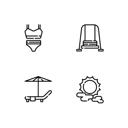 Waterpark and aquapark, beach. Set outline icon EPS 10 vector format. Professional pixel perfect black, white icons optimized for both large and small resolutions. Transparent background.