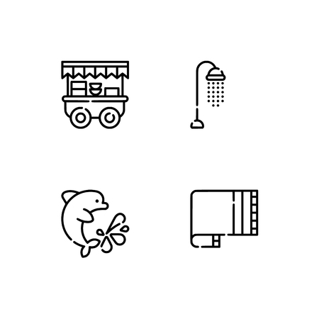 Waterpark and aquapark, beach. Set outline icon EPS 10 vector format. Professional pixel perfect black, white icons optimized for both large and small resolutions. Transparent background. Çizim