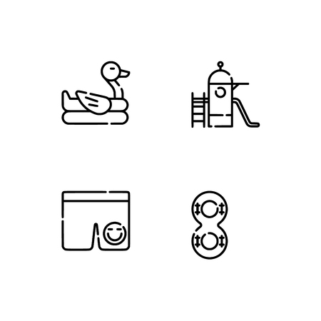 Waterpark and aquapark, beach. Set outline icon EPS 10 vector format. Professional pixel perfect black, white icons optimized for both large and small resolutions. Transparent background. Illusztráció