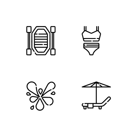 Waterpark and aquapark, beach. Set outline icon EPS 10 vector format. Professional pixel perfect black, white icons optimized for both large and small resolutions. Transparent background. Vettoriali