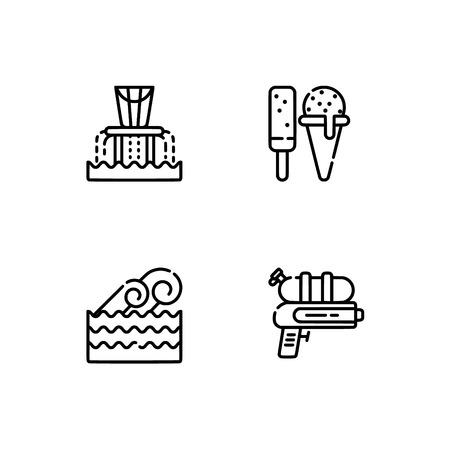 Parque acuático y parque acuático, playa. Establecer formato de vector Eps 10 icono de contorno. Iconos profesionales en blanco y negro con píxeles perfectos optimizados para resoluciones grandes y pequeñas. Fondo transparente.