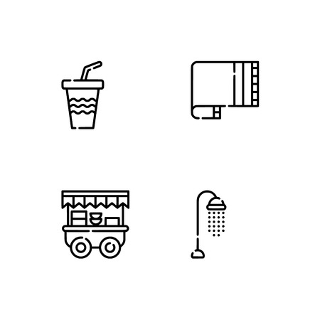 Waterpark and aquapark, beach. Set outline icon EPS 10 vector format. Professional pixel perfect black, white icons optimized for both large and small resolutions. Transparent background. Illustration