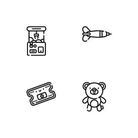 Amusement park. Set outline icon EPS 10 vector format. Professional pixel perfect black, white icons optimized for both large and small resolutions. Transparent background. 免版税图像 - 112088492