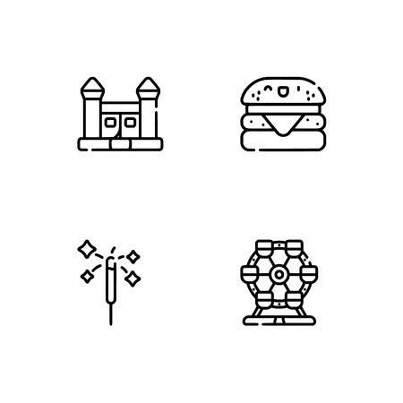 Amusement park. Set outline icon EPS 10 vector format. Professional pixel perfect black, white icons optimized for both large and small resolutions. Transparent background. Stock Vector - 112088499