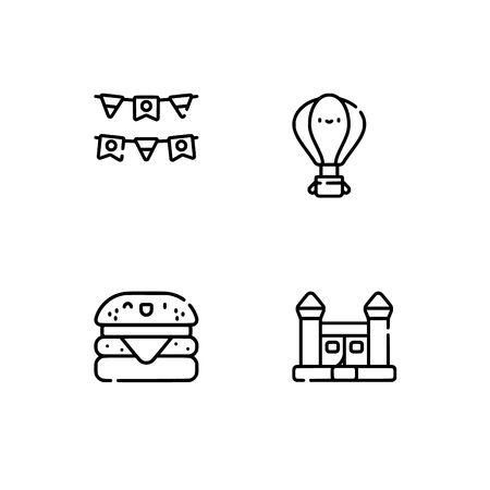 Amusement park. Set outline icon EPS 10 vector format. Professional pixel perfect black, white icons optimized for both large and small resolutions. Transparent background. Stock Vector - 112088518