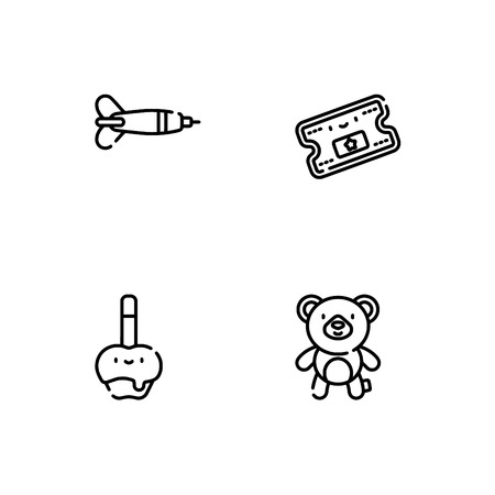 Amusement park. Set outline icon EPS 10 vector format. Professional pixel perfect black, white icons optimized for both large and small resolutions. Transparent background. Vectores