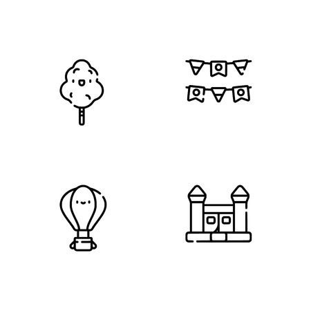 Amusement park. Set outline icon EPS 10 vector format. Professional pixel perfect black, white icons optimized for both large and small resolutions. Transparent background. Standard-Bild - 112088540