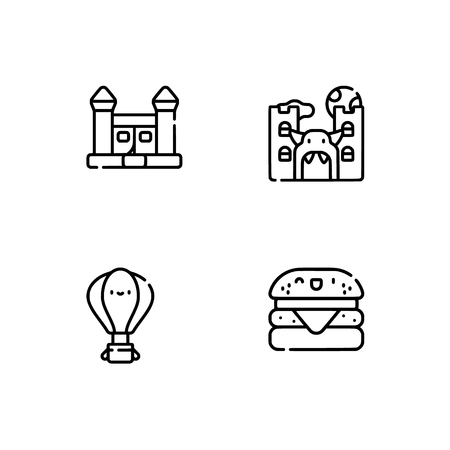Amusement park. Set outline icon EPS 10 vector format. Professional pixel perfect black, white icons optimized for both large and small resolutions. Transparent background. Stock Vector - 106169557