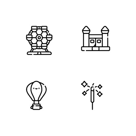 Amusement park. Set outline icon EPS 10 vector format. Professional pixel perfect black, white icons optimized for both large and small resolutions. Transparent background. Standard-Bild - 112088568