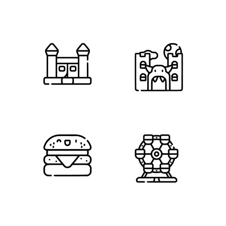 Amusement park. Set outline icon EPS 10 vector format. Professional pixel perfect black, white icons optimized for both large and small resolutions. Transparent background. Stock Vector - 112088583