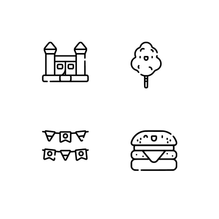 Amusement park. Set outline icon EPS 10 vector format. Professional pixel perfect black, white icons optimized for both large and small resolutions. Transparent background. Standard-Bild - 112088589