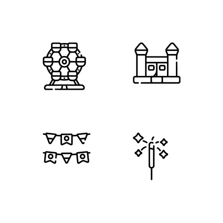 Amusement park. Set outline icon EPS 10 vector format. Professional pixel perfect black, white icons optimized for both large and small resolutions. Transparent background. Standard-Bild - 112088598