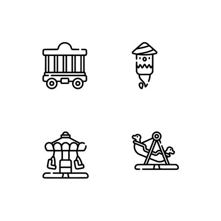 Amusement park. Set outline icon EPS 10 vector format. Professional pixel perfect black, white icons optimized for both large and small resolutions. Transparent background. Çizim