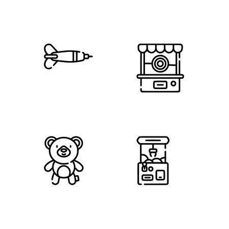 Amusement park. Set outline icon EPS 10 vector format. Professional pixel perfect black, white icons optimized for both large and small resolutions. Transparent background. Ilustração