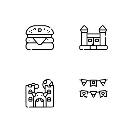 Amusement park. Set outline icon EPS 10 vector format. Professional pixel perfect black, white icons optimized for both large and small resolutions. Transparent background. Stock Vector - 106171782