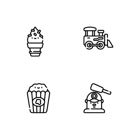 Amusement park. Set outline icon EPS 10 vector format. Professional pixel perfect black, white icons optimized for both large and small resolutions. Transparent background. Vettoriali