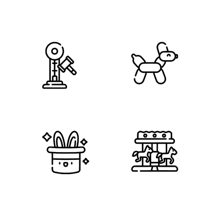 Amusement park. Set outline icon EPS 10 vector format. Professional pixel perfect black, white icons optimized for both large and small resolutions. Transparent background. 일러스트
