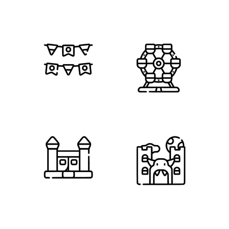 Amusement park. Set outline icon EPS 10 vector format. Professional pixel perfect black, white icons optimized for both large and small resolutions. Transparent background. Stock Vector - 112088677
