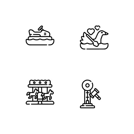 Amusement park. Set outline icon EPS 10 vector format. Professional pixel perfect black, white icons optimized for both large and small resolutions. Transparent background. Illusztráció