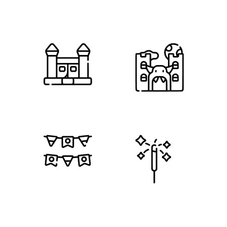 Amusement park. Set outline icon EPS 10 vector format. Professional pixel perfect black, white icons optimized for both large and small resolutions. Transparent background. Stock Vector - 112088705