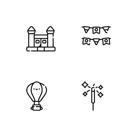 Amusement park. Set outline icon EPS 10 vector format. Professional pixel perfect black, white icons optimized for both large and small resolutions. Transparent background. Stock Vector - 112088709