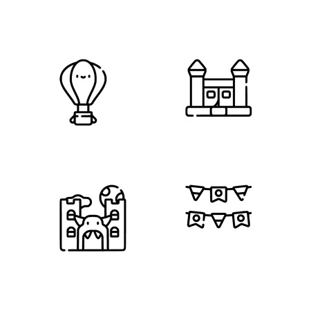 Amusement park. Set outline icon EPS 10 vector format. Professional pixel perfect black, white icons optimized for both large and small resolutions. Transparent background. Stock Vector - 112088710