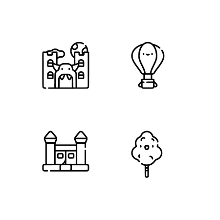 Amusement park. Set outline icon EPS 10 vector format. Professional pixel perfect black, white icons optimized for both large and small resolutions. Transparent background. Stock Vector - 112088721