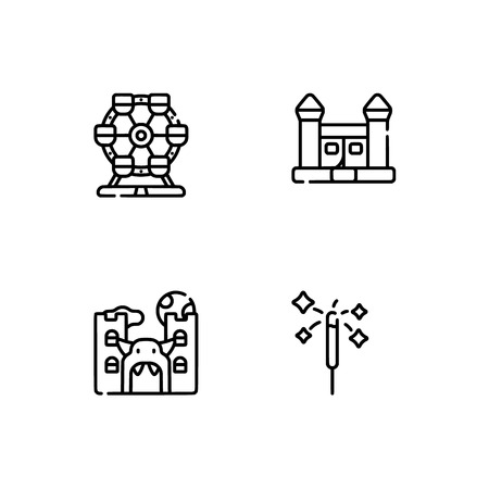 Amusement park. Set outline icon EPS 10 vector format. Professional pixel perfect black, white icons optimized for both large and small resolutions. Transparent background. Stock Vector - 112088754