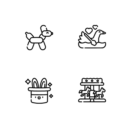 Amusement park. Set outline icon EPS 10 vector format. Professional pixel perfect black, white icons optimized for both large and small resolutions. Transparent background. 向量圖像