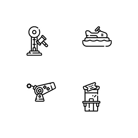 Amusement park. Set outline icon EPS 10 vector format. Professional pixel perfect black, white icons optimized for both large and small resolutions. Transparent background. 矢量图像