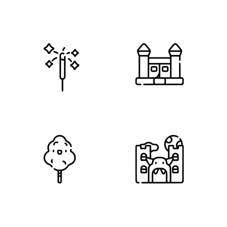 Amusement park. Set outline icon EPS 10 vector format. Professional pixel perfect black, white icons optimized for both large and small resolutions. Transparent background. Stock Vector - 106173383