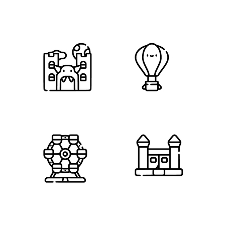 Amusement park. Set outline icon EPS 10 vector format. Professional pixel perfect black, white icons optimized for both large and small resolutions. Transparent background. Stock Photo