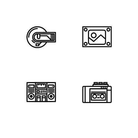 Retro tech and gadets. Set outline icon EPS 10 vector format. Professional pixel perfect black, white icons optimized for both large and small resolutions. Transparent background. Foto de archivo - 112088792