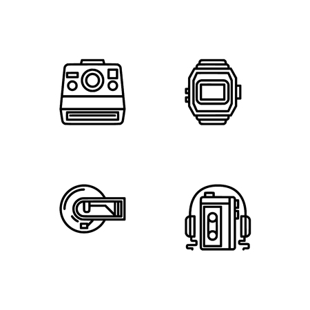 Retro tech and gadets. Set outline icon EPS 10 vector format. Professional pixel perfect black, white icons optimized for both large and small resolutions. Transparent background. Foto de archivo - 106766124