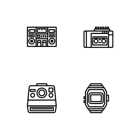Retro tech and gadets. Set outline icon EPS 10 vector format. Professional pixel perfect black, white icons optimized for both large and small resolutions. Transparent background. Foto de archivo - 106766125
