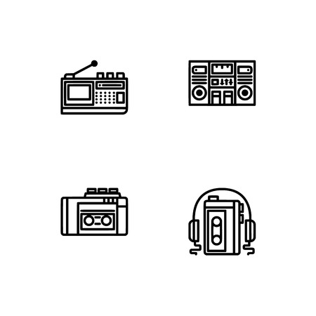 Retro tech and gadets. Set outline icon EPS 10 vector format. Professional pixel perfect black, white icons optimized for both large and small resolutions. Transparent background. Foto de archivo - 106178658