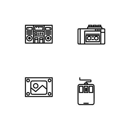 Retro tech and gadets. Set outline icon EPS 10 vector format. Professional pixel perfect black, white icons optimized for both large and small resolutions. Transparent background. Foto de archivo - 112088799