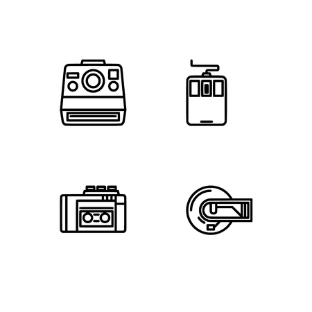 Retro tech and gadets. Set outline icon EPS 10 vector format. Professional pixel perfect black, white icons optimized for both large and small resolutions. Transparent background. Foto de archivo - 106766130