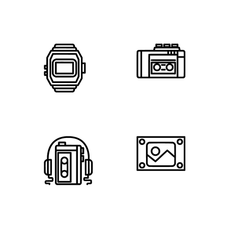 Retro tech and gadets. Set outline icon EPS 10 vector format. Professional pixel perfect black, white icons optimized for both large and small resolutions. Transparent background. Foto de archivo - 112088812