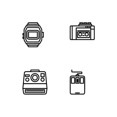 Retro tech and gadets. Set outline icon EPS 10 vector format. Professional pixel perfect black, white icons optimized for both large and small resolutions. Transparent background. Foto de archivo - 106766261