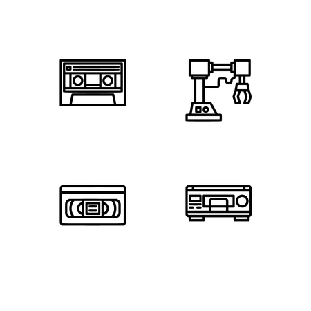 Retro tech and gadets. Set outline icon EPS 10 vector format. Professional pixel perfect black, white icons optimized for both large and small resolutions. Transparent background. Foto de archivo - 106766260
