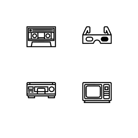 Retro tech and gadets. Set outline icon EPS 10 vector format. Professional pixel perfect black, white icons optimized for both large and small resolutions. Transparent background. Foto de archivo - 112088816