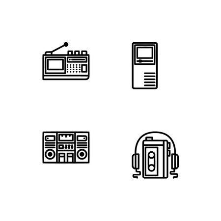 Retro tech and gadets. Set outline icon EPS 10 vector format. Professional pixel perfect black, white icons optimized for both large and small resolutions. Transparent background. Foto de archivo - 112088817