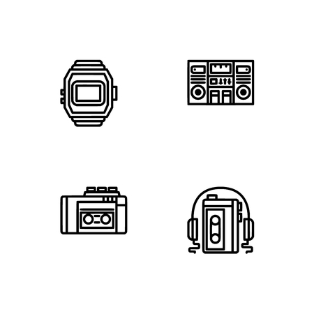 Retro tech and gadets. Set outline icon EPS 10 vector format. Professional pixel perfect black, white icons optimized for both large and small resolutions. Transparent background. Foto de archivo - 112088819