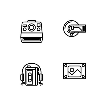 Retro tech and gadets. Set outline icon EPS 10 vector format. Professional pixel perfect black, white icons optimized for both large and small resolutions. Transparent background. Foto de archivo - 106766259